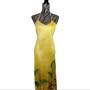 Halter Top Yellow Floral Maxi Sun Dress